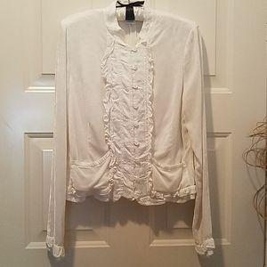 Ghost cream velvet ruffle jacket
